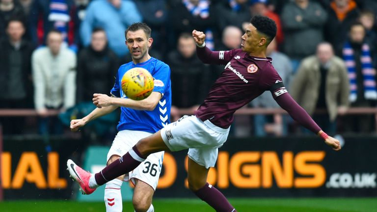 Rangers' Gareth McAuley tangles with Hearts' Sean Clare