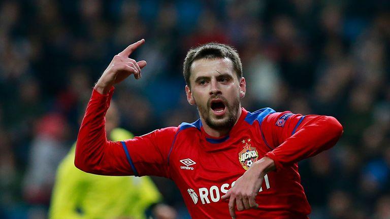 Georgi Schennikov celebrates doubling CSKA's lead at the Bernabeu