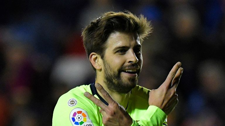 Gerard Pique added to Levante's woes during a one-sided contest