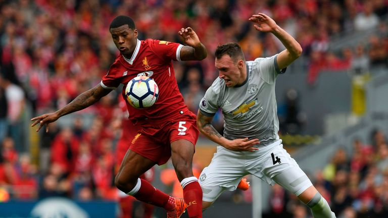 Liverpool's Gini Wijnaldum (left) and United's Phil Jones compete for the ball