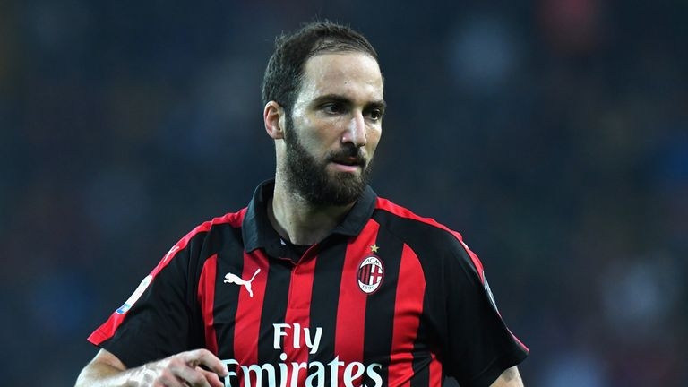 Gonzalo Higuain during the Serie A match between Udinese and AC Milan at Stadio Friuli on November 4, 2018 in Udine, Italy.