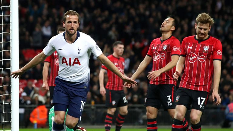 Harry Kane celebrates giving Tottenham the lead against Southampton