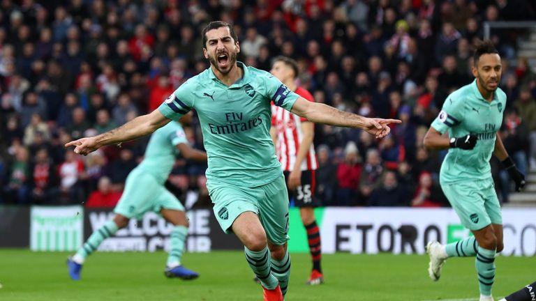 Henrikh Mkhitaryan scored twice for Arsenal