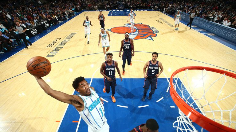 NEW YORK, NY - DECEMBER 9: Malik Monk #1 of the Charlotte Hornets dunks the ball against the New York Knicks on December 9, 2018 at Madison Square Garden in New York City, New York.  NOTE TO USER: User expressly acknowledges and agrees that, by downloading and or using this photograph, User is consenting to the terms and conditions of the Getty Images License Agreement. Mandatory Copyright Notice: Copyright 2018 NBAE  (Photo by Nathaniel S. Butler/NBAE via Getty Images)