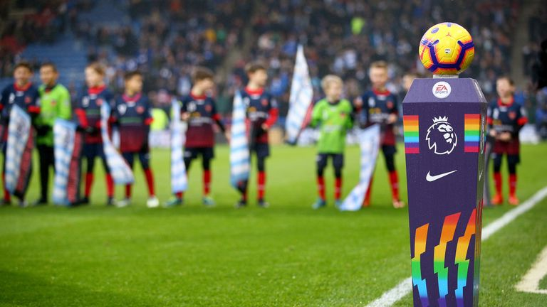 The Rainbow Laces match ball plinth is seen before the Premier League match between Huddersfield and Brighton