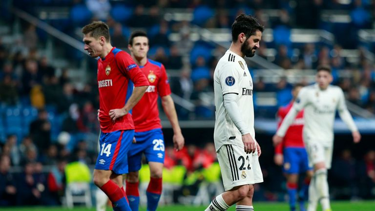 Isco stands dejected as Real Madrid slump to their heaviest home defeat in Europe