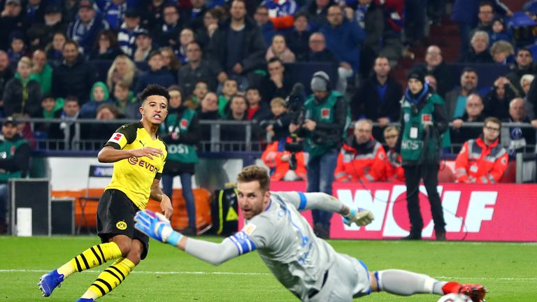 Jadon Sancho scored the winner for Borussia Dortmund against rivals Schalke