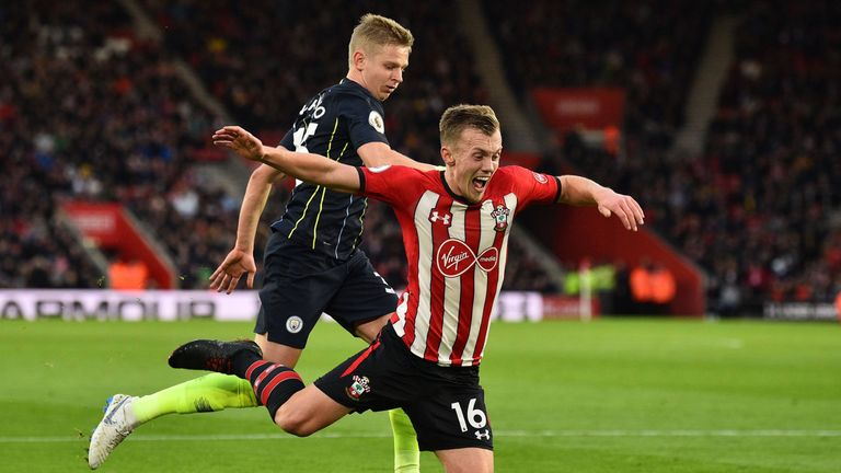 James Ward-Prowse goes down under a challenge from Oleksandr Zinchenko
