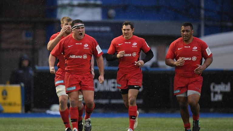 Jamie George celebrates scoring a crucial try at Cardiff Arms Park in Round 4