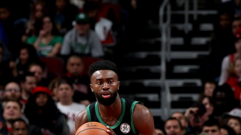 Jaylen Brown #7 of the Boston Celtics handles the ball against the Chicago Bulls /on December 8, 2018 at the United Center in Chicago, Illinois