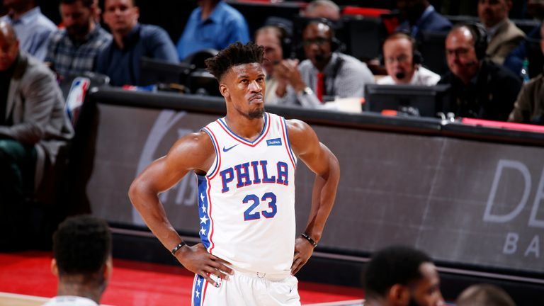 Detroit, MI - 7th December: Jimmy Butler # 23 of Philadelphia 76er watches during the match against Detroit Pistons on Dec. 7, 2018 at the Kaiser's Little Hall in Detroit, Michigan. NOTE TO USER: The user explicitly acknowledges and agrees that by downloading and / or using this photo, the User agrees to the terms of the Getty Images license agreement. Mandatory Copyright notice: Copyright 2018 NBAE (Photo: Brian Sevald / NBAE through Getty Images)