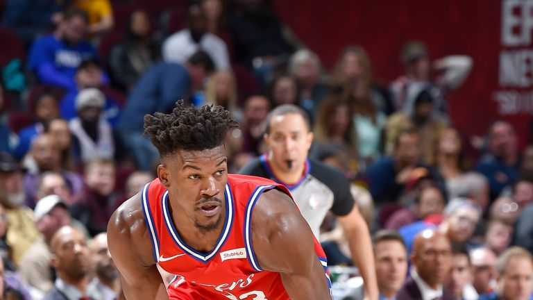Jimmy Butler #23 of the Philadelphia 76ers handles the ball against the Cleveland Cavaliers on December 16, 2018 at Quicken Loans Arena in Cleveland, Ohio.
