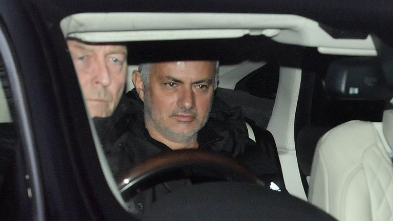 Jose Mourinho at Carrington this morning