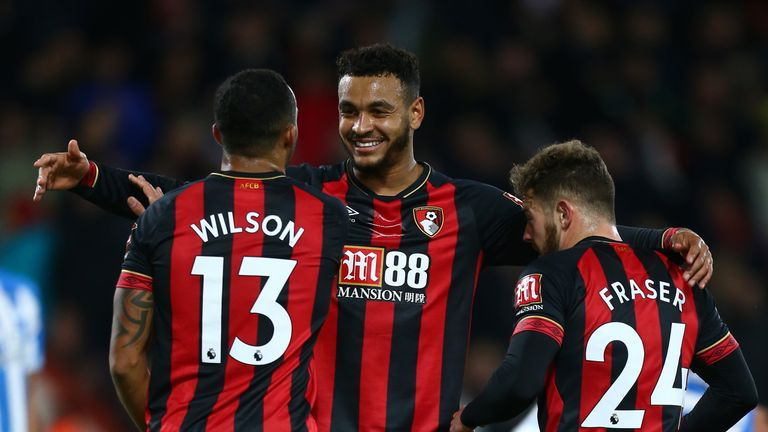 Bournemouth's Josh King, Callum Wilson and Ryan Fraser celebrate after going 2-0 up