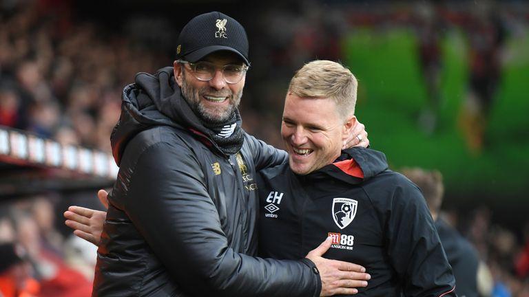Liverpool's Jurgen Klopp and Bournemouth manager Eddie Howe