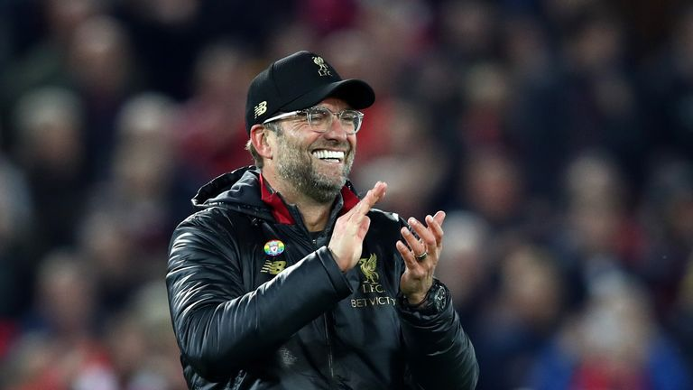 Jurgen Klopp celebrates Liverpool's win over Everton