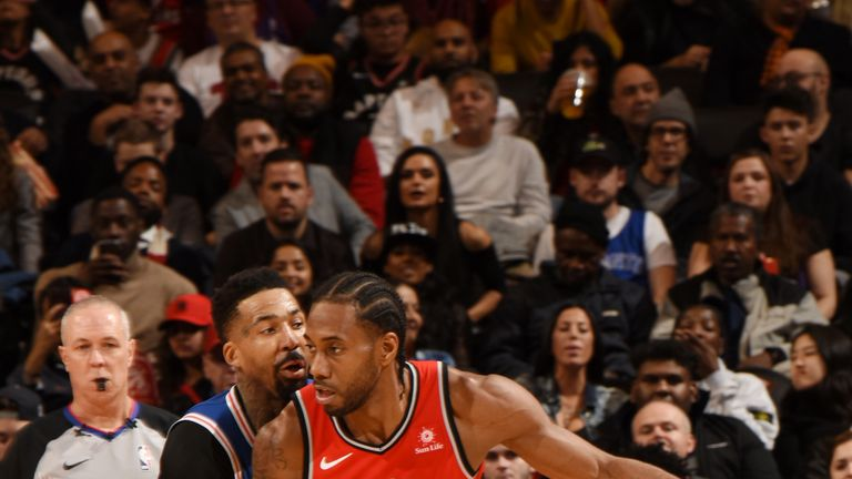 Kawhi Leonard #2 of the Toronto Raptors handles the ball during the game against the Philadelphia 76ers on December 5, 2018 at the Scotiabank Arena in Toronto, Ontario, Canada