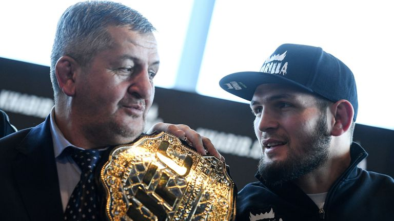 Abdulmanap Nurmagomedov (left) believes his son can beat Floyd Mayweather