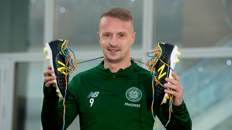 Celtic striker Leigh Griffiths shows his support for the Rainbow Laces campaign