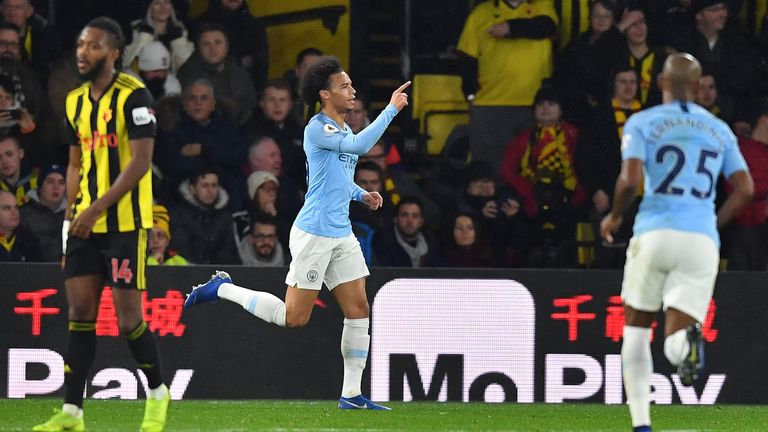 Leroy Sane celebrates his opener against Watford