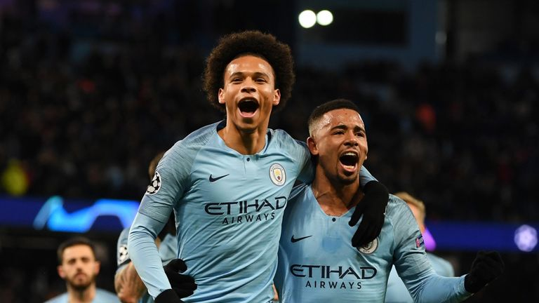 Leroy Sane celebrates with Gabriel Jesus