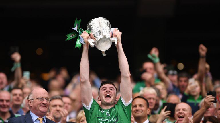 Limerick captain Declan Hannon hoists the Liam MacCarthy Cup aloft