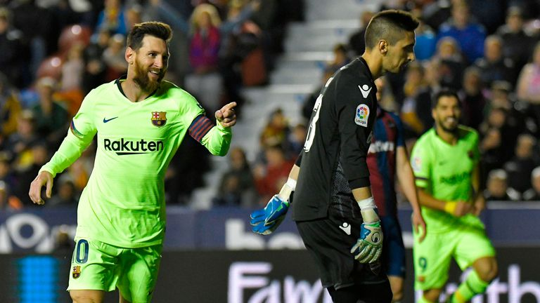 Lionel Messi scored a hat-trick as Barcelona thrashed Levante