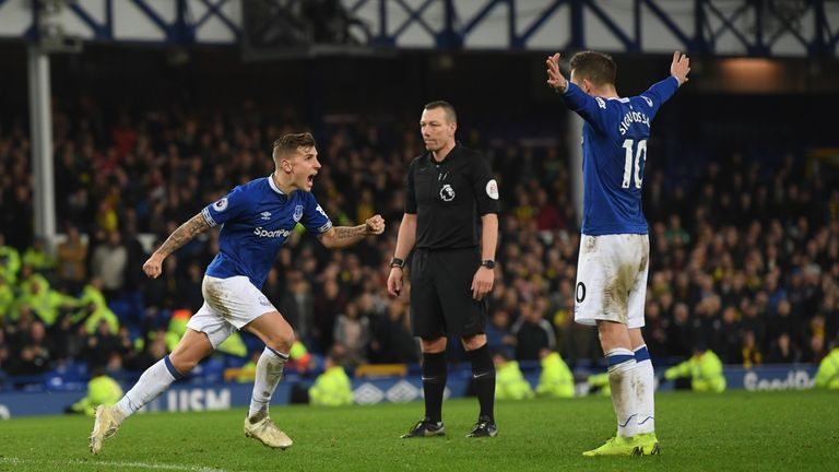 Lucas Digne celebrates after scoring a late free-kick against Watford