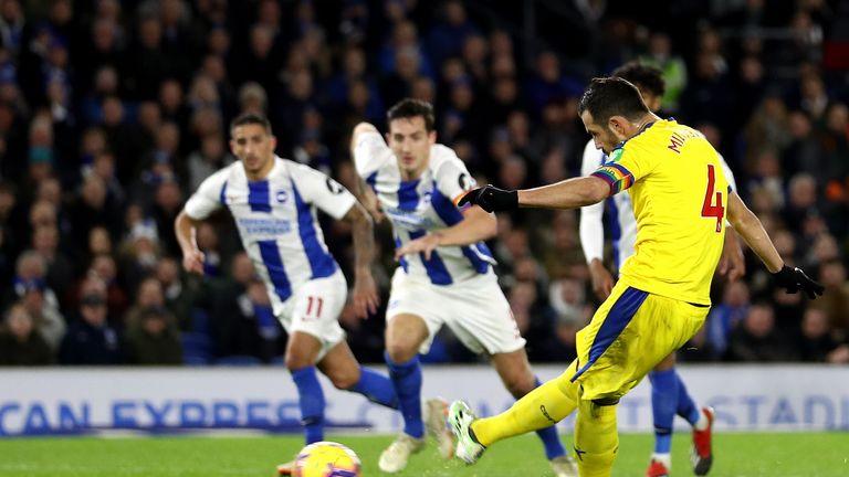 Luka Milivojevic pulls a goal back for Crystal Palace