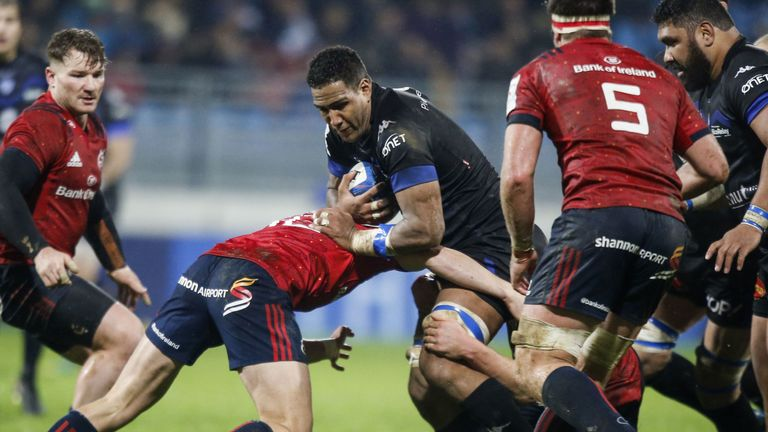 Castres French flanker Mathieu Babillot runs with the ball during the European Champions Cup pool one rugby union match between Castres and Munster, at the Pierre Fabre stadium, in Castres, southern France, on December 15, 2018.