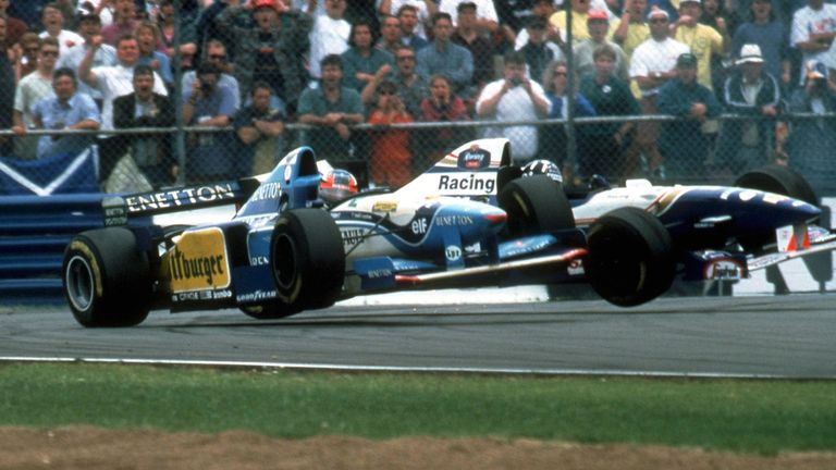 Schumacher and Hill were F1's grudge-match protagonists of the mid-1990s and, barely half a year on from Adelaide 1994, collided again when battling at Silverstone. Both spun off into the gravel, with the Briton this time copping the blame.
