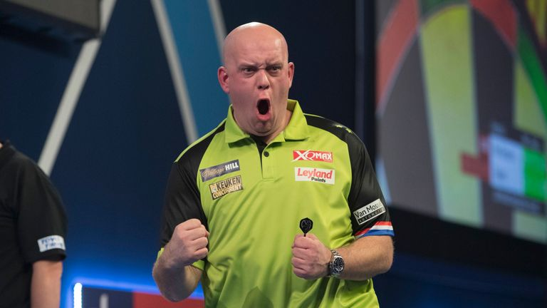 Van Gerwen hit 22 tons and lost a set to Tabern but still did enough to come through
