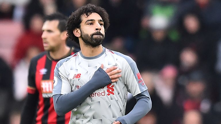 Mohamed Salah celebrates his goal to put Liverpool ahead