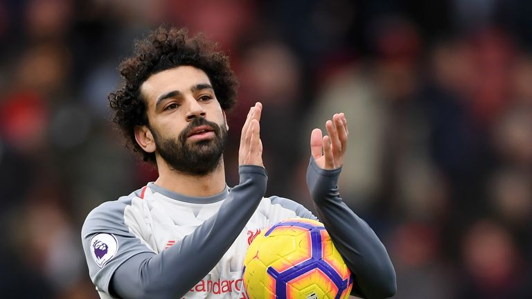 Salah with the match ball at the Vitality Stadium