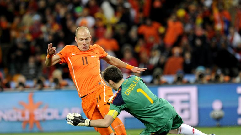 Robben played in the 2010 World Cup final where the Netherlands lost to Spain