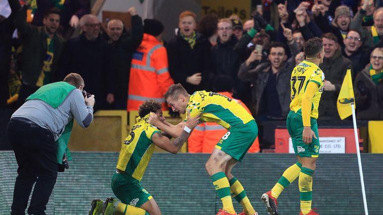 Onel Hernandez celebrates scoring for Norwich