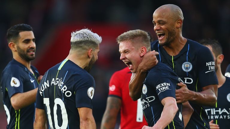 Oleksandr Zinchenko (second from right) celebrates the 3-1 win over Southampton with Sergio Aguero and Vincent Kompany