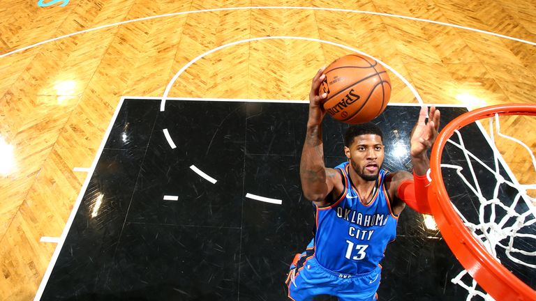 Paul George #13 of the Oklahoma City Thunder shoots the ball against the Brooklyn Nets on December 5, 2018 at Barclays Center in Brooklyn, New York.