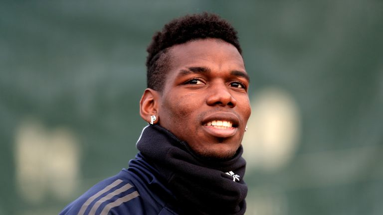 Paul Pogba during a training session at Manchester United's AON Training Complex