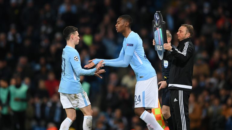Raheem Sterling referenced articles on Manchester City youngsters Phil Foden (left) and Tosin Adarabioyo