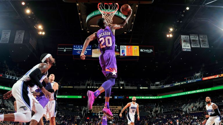PHOENIX, AZ - NOVEMBER 30: Josh Jackson #20 of the Phoenix Suns goes to the basket against the Orlando Magic on November 30, 2018 at Talking Stick Resort Arena in Phoenix, Arizona. NOTE TO USER: User expressly acknowledges and agrees that, by downloading and/or using this photograph, user is consenting to the terms and conditions of the Getty Images License Agreement. Mandatory Copyright Notice: Copyright 2018 NBAE (Photo by Barry Gossage/NBAE via Getty Images)