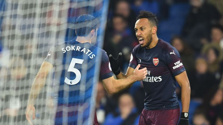 Pierre-Emerick Aubameyang scored the opener as Arsenal were held by Brighton