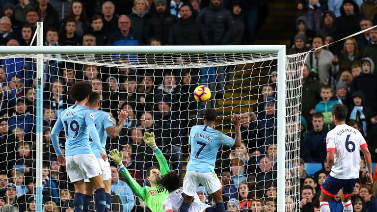 Raheem Sterling scores City's second against the Cherries