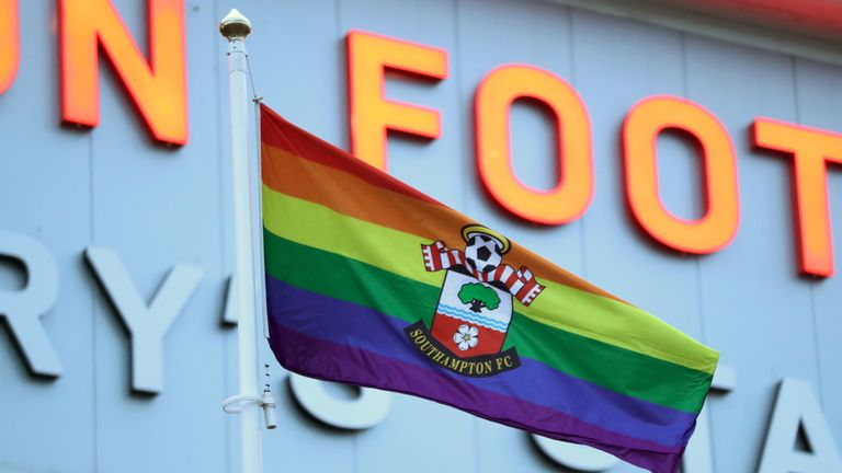 Southampton flew a special rainbow flag at St Mary's on Saturday