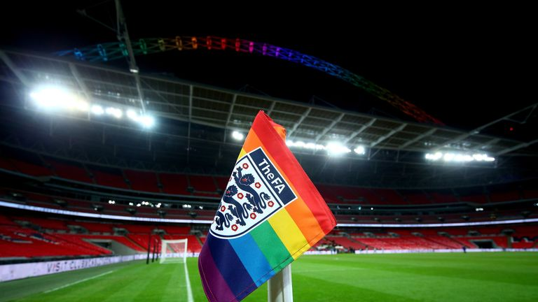 The match was played with rainbow corner flags and under a rainbow Wembley arch