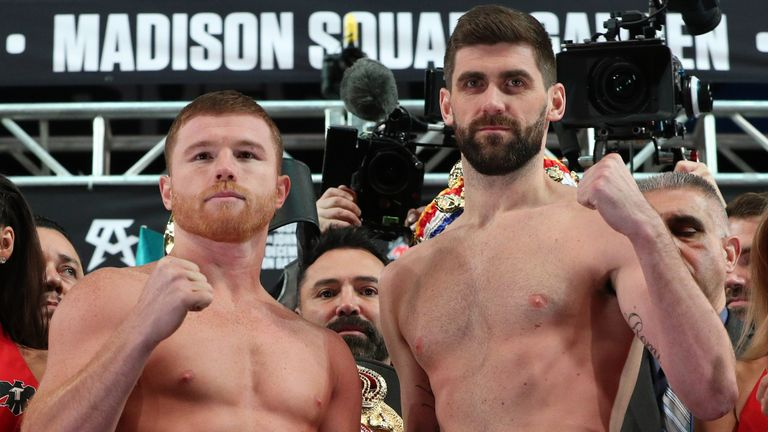 "Saul ""Canelo"" Alvarez and WBA super middleweight champion Rocky Fielding pose after weighing in for their December 15, 2018 fight at Madison Square Garden in New York City."