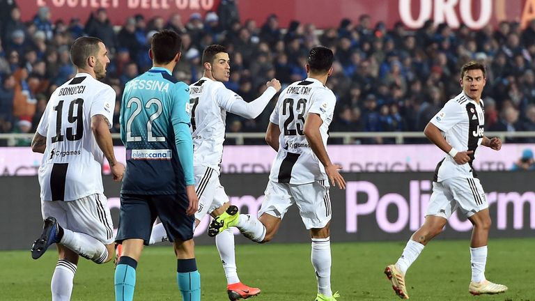 Cristiano Ronaldo celebrates his strike having come off the bench for Juventus
