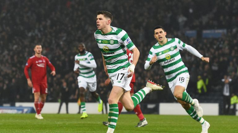 Celtic's Ryan Christie celebrates his winning goal against Aberdeen in the Scottish League Cup final