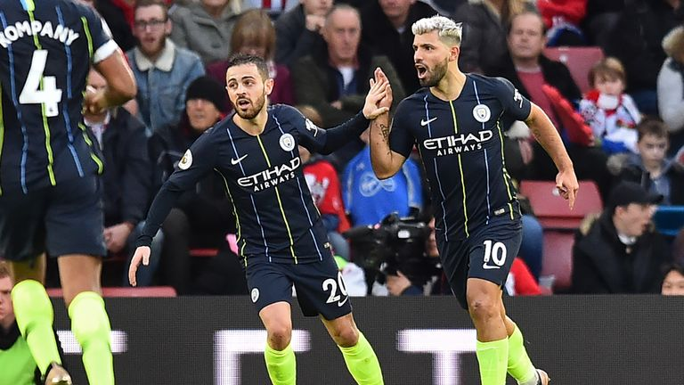 Sergio Aguero celebrates scoring Manchester City's third goal
