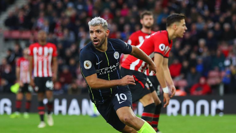 Sergio Aguero turns away to celebrate after scoring against Southampton